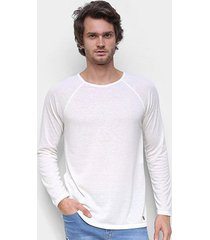 camiseta hering linho manga longa masculina - masculino
