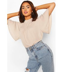 shirred neck detail woven blouse, stone