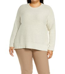 eileen fisher organic cotton boucle sweater, size 1x in chalk at nordstrom