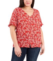 plus size women's cece floral print ruffle sleeve top, size 2x - red