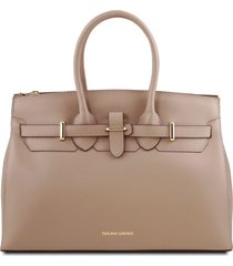 tuscany leather tl141548 elettra - borsa a mano in pelle con accessori oro talpa