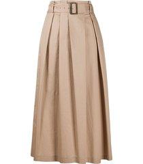 peserico flared belted midi skirt - neutrals