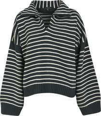 stripe knit oversized pullover