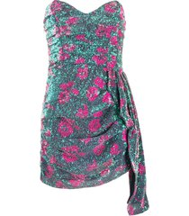 for love and lemons patterned sequin bustier cocktail dress - pink
