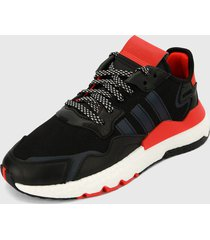 tenis lifestyle rojo-negro-blanco adidas originals nite jogger