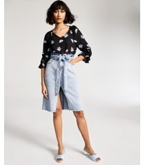 bar iii floral-print flounce-sleeve top, created for macy's