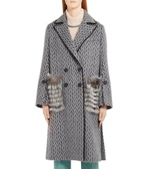 women's fendi double breasted wool & alpaca blend coat with genuine fox fur pockets, size 6 us / 42 it - grey