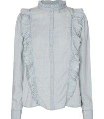 blouse met ruches silke  blauw