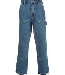 stussy straight leg work jeans - blue
