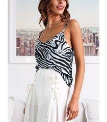 blanco zebra cami de satén holgado con drapeado a rayas