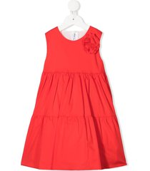 little bear sleeveless ruffle-tiered dress