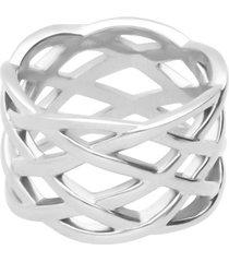 anello in acciaio intrecciato per donna