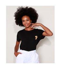 camiseta feminina ampla tom e jerry manga curta decote redondo preta