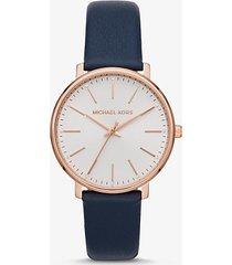 mk orologio pyper tonalità oro rosa con cinturino in pelle - corallo (rosa) - michael kors
