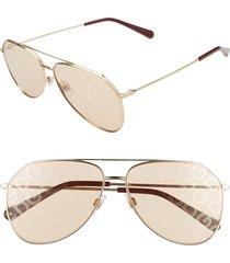 women's dolce & gabbana 59mm aviator sunglasses - gold/ light brown tampo solid