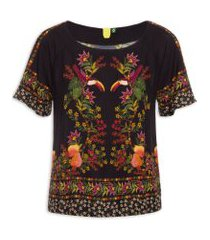 camiseta estampada tropical - preto