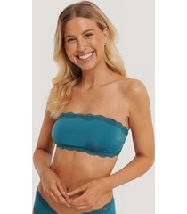 na-kd lingerie microtopp i bandeaumodell - turquoise