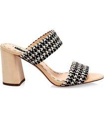 leeda braided raffia block heel sandals