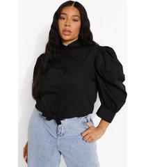 plus katoenen blouse met pofmouwen en strik, black