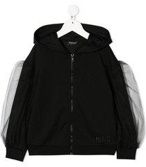 monnalisa tulle panelled jacket - black