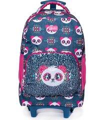 mochila de rodinha spector infantil panda azul/rosa
