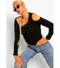 asymetrische geribbelde trui met uitsgesneden schouders, black