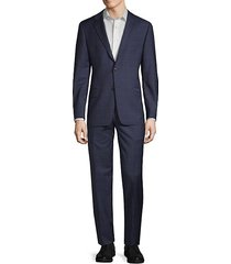 slim-fit windowpane wool suit