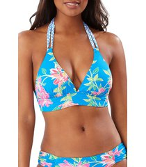 women's tommy bahama sun lilies reversible halter swim top, size large - blue
