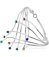 forzieri designer bracelets, fireworks glass stones sterling silver cuff bracelet