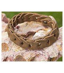 braided leather bracelet, 'hooked on honey' (mexico)