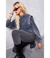 acid wash gebleekte sweater met schoudervulling, houtskool