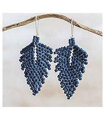 ceramic beaded dangle earrings, 'elegant wind in indigo' (guatemala)