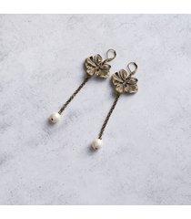 unikatowe kolczyki - storczyki z perłami