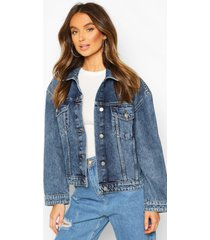 vintage wash boxy jean jacket, mid blue