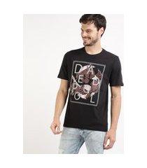 camiseta masculina deadpool playstation manga curta gola careca preto