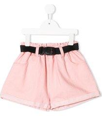 andorine belted wide-leg denim shorts - pink