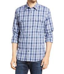 men's 1901 trim fit plaid stretch flannel button-up shirt, size large - blue