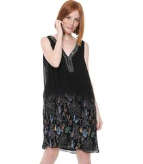 vestido desigual curto pedraria plissado preto