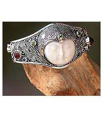peridot and carnelian cuff bracelet, 'moon queen' (indonesia)
