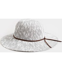 mona open weave floppy hat in gray - gray