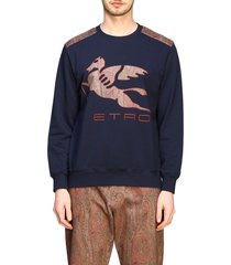 etro sweater etro sweatshirt with pegasus logo inlay work