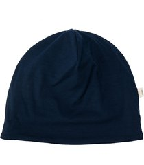 knot merino wool contrast lining hat - blue