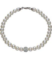 bracciale in oro bianco, perle e cristalli per donna
