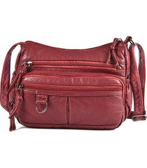 donna soft litchi in pelle modello crossbody borsa messenger multi-slot borsa
