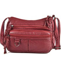 donna soft pelle litchi modello crossbody borsa multi-slot messenger borsa