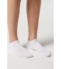 calzedonia unisex cotton no-show socks man white size 46-47
