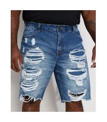 bermuda jeans masculina plus size reta destroyed azul médio