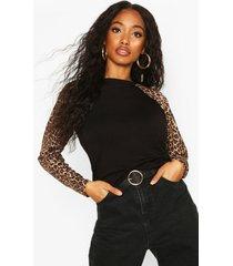 leopard print raglan long sleeve t-shirt, black