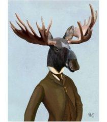 "fab funky moose in suit, portrait canvas art - 36.5"" x 48"""
