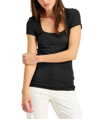 inc ribbed square-neck t-shirt, created for macy's